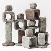 Stone cube ligt decorative n1 3d model