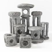 Stone light cube decorative n2 3d model