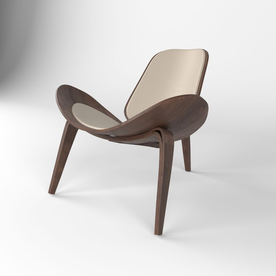 Hans Wegner sandalye royalty-free 3d model - Preview no. 4