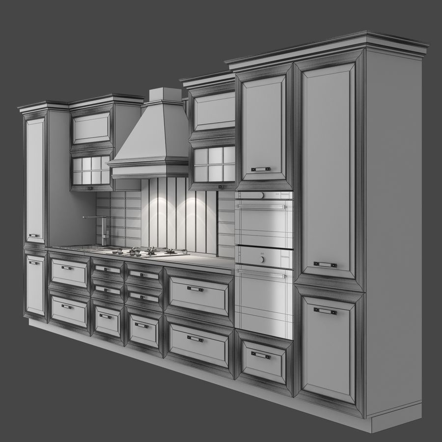 Kitchen Veneto royalty-free 3d model - Preview no. 7