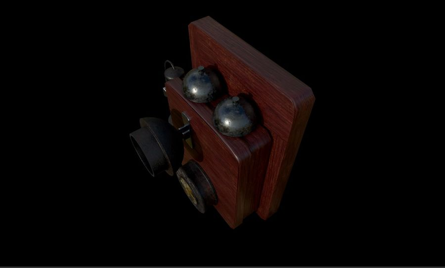 Old School Phone royalty-free 3d model - Preview no. 2