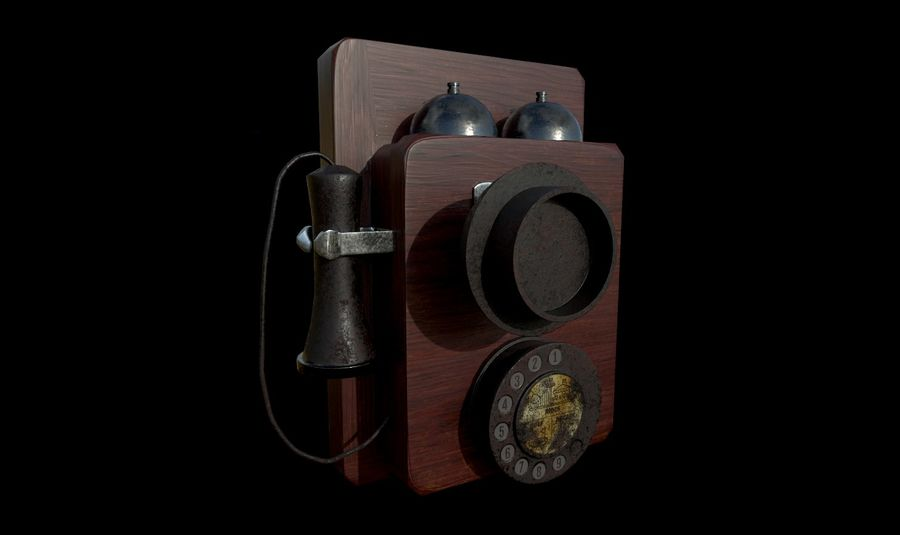 Old School Phone royalty-free 3d model - Preview no. 1