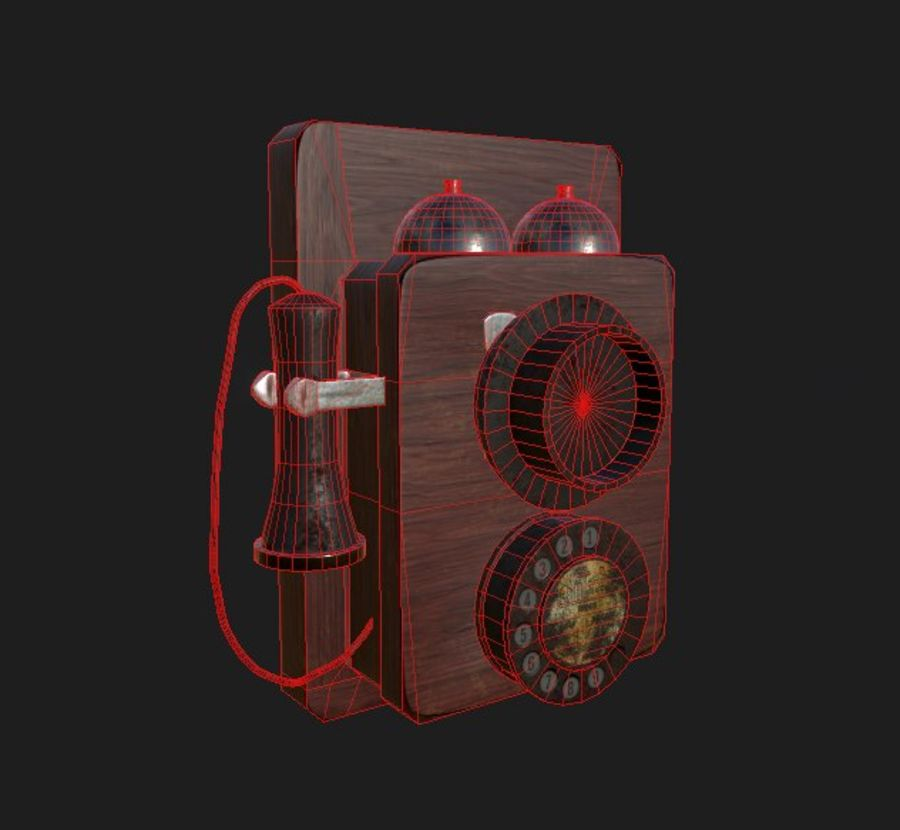 Old School Phone royalty-free 3d model - Preview no. 5
