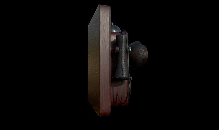 Old School Phone royalty-free 3d model - Preview no. 4