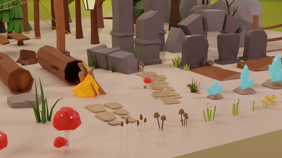 LowPoly Nature - Trees Grass and Rocks royalty-free 3d model - Preview no. 3
