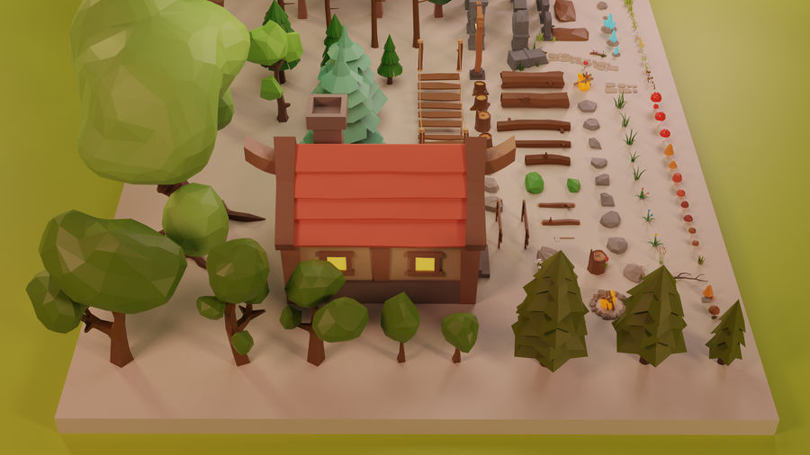 LowPoly Nature - Trees Grass and Rocks royalty-free 3d model - Preview no. 10