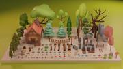 LowPoly Nature - Drzewa Trawa i skały 3d model