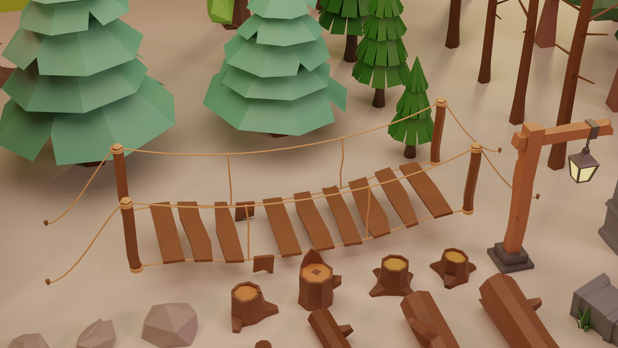 LowPoly Nature - Trees Grass and Rocks royalty-free 3d model - Preview no. 6