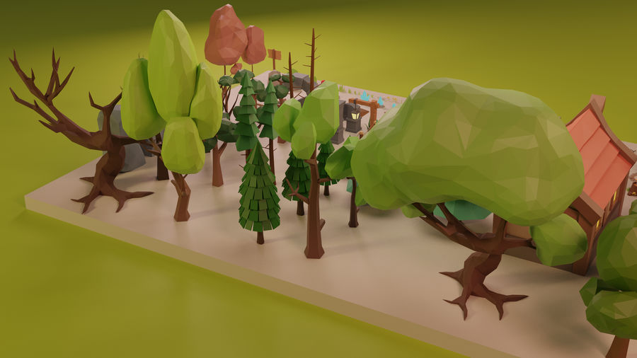 LowPoly Nature - Trees Grass and Rocks royalty-free 3d model - Preview no. 12