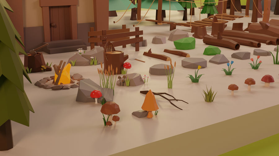 LowPoly Nature - Trees Grass and Rocks royalty-free 3d model - Preview no. 2