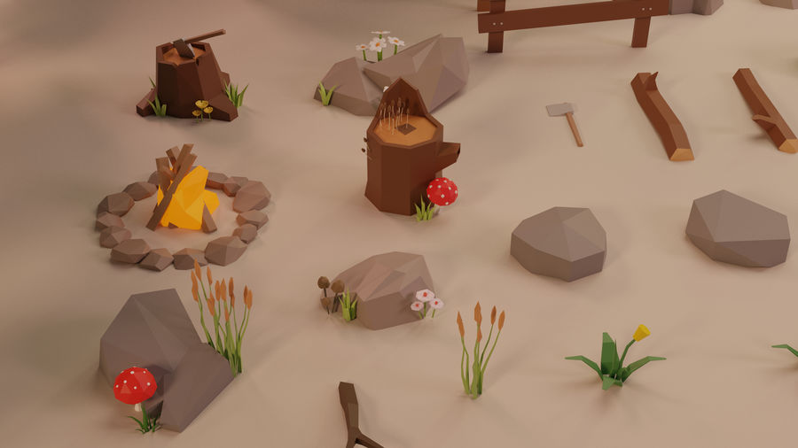 LowPoly Nature - Trees Grass and Rocks royalty-free 3d model - Preview no. 4