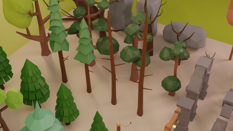 LowPoly Nature - Trees Grass and Rocks royalty-free 3d model - Preview no. 11
