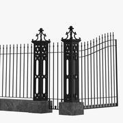 Fence Railing Gate street Park 3d model