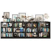 Donkere boekenplankenset 3d model