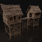 Porta di guardia medievale in legno 3d model