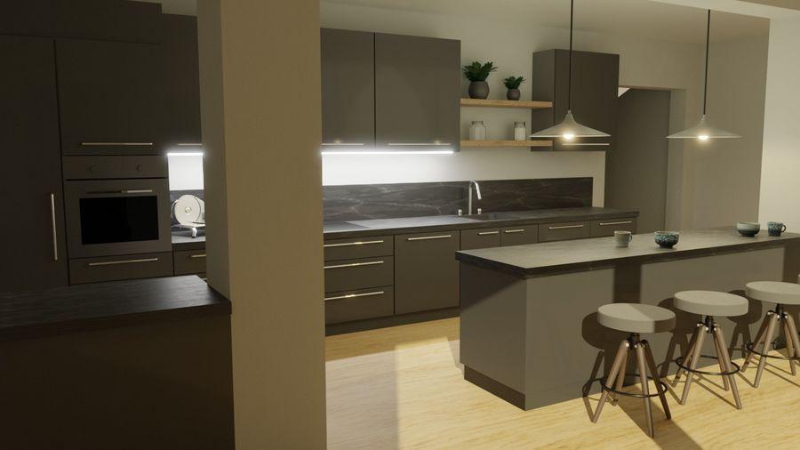 Keuken donker design zwart royalty-free 3d model - Preview no. 1