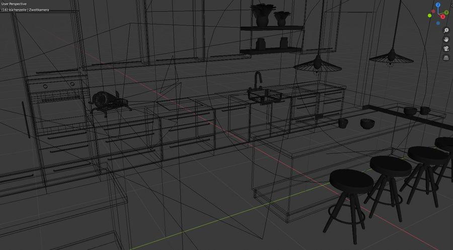 Keuken donker design zwart royalty-free 3d model - Preview no. 6