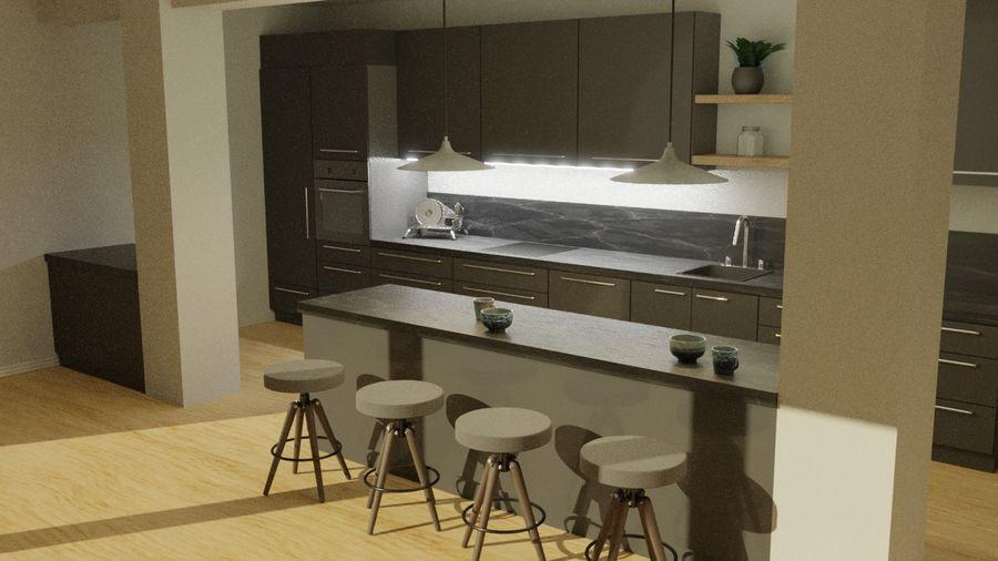 Keuken donker design zwart royalty-free 3d model - Preview no. 2