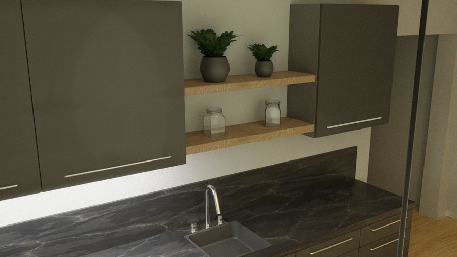 Keuken donker design zwart royalty-free 3d model - Preview no. 3