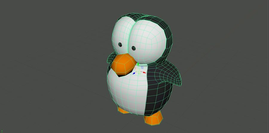 Cartoon Penguin royalty-free 3d model - Preview no. 10