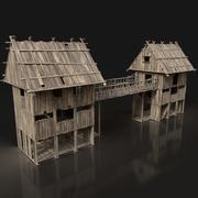 Nästa Gen AAA trävakttorn Bridge Gate - ENTERABLE 3d model
