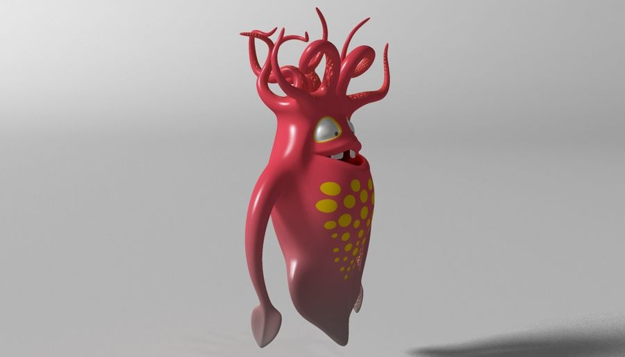 Cartoon squid monster RIGGED royalty-free 3d model - Preview no. 5