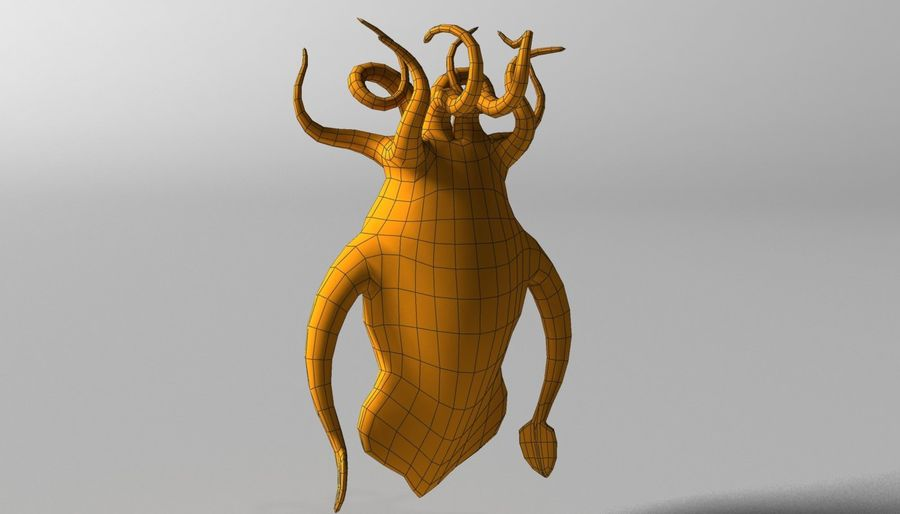 Cartoon squid monster RIGGED royalty-free 3d model - Preview no. 9