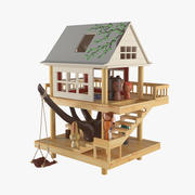 Casa de juguete de madera con figuras de animales. modelo 3d