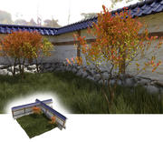 Jardin japonais avec mur, buissons et gras 3d model