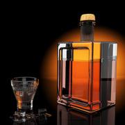 Стакан для виски и бутылка 3d model