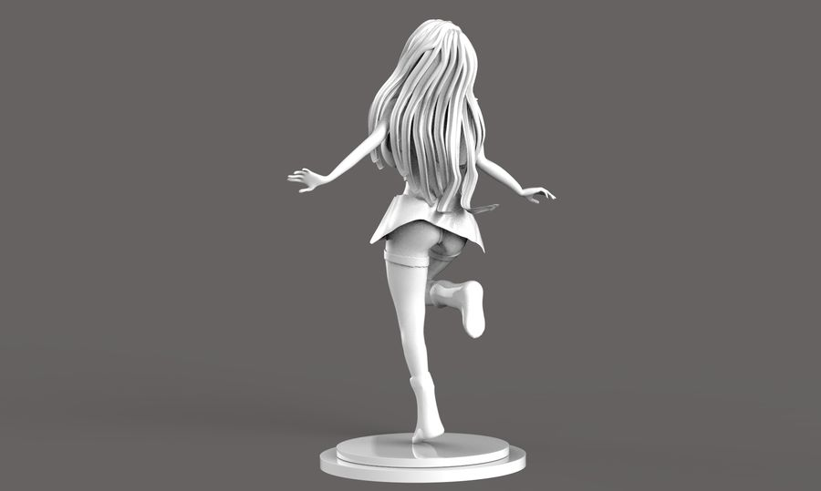 Anime School Girl royalty-free 3d model - Preview no. 7