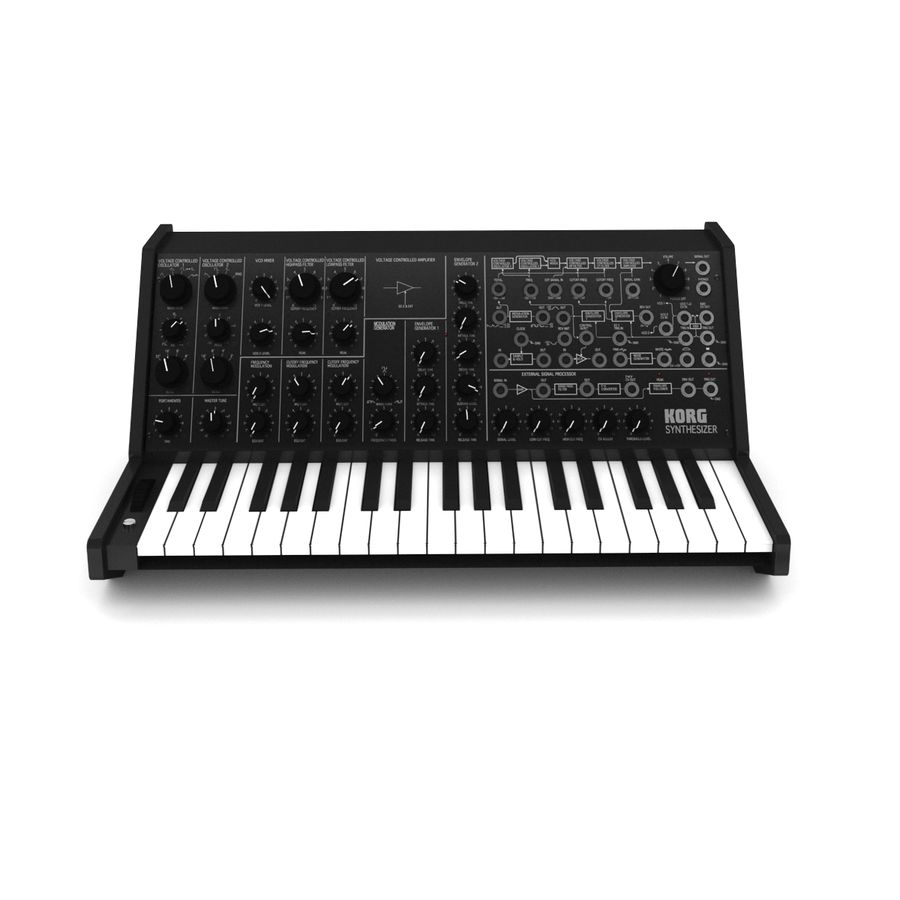 Synthesizer Korg MS20 royalty-free 3d model - Preview no. 4