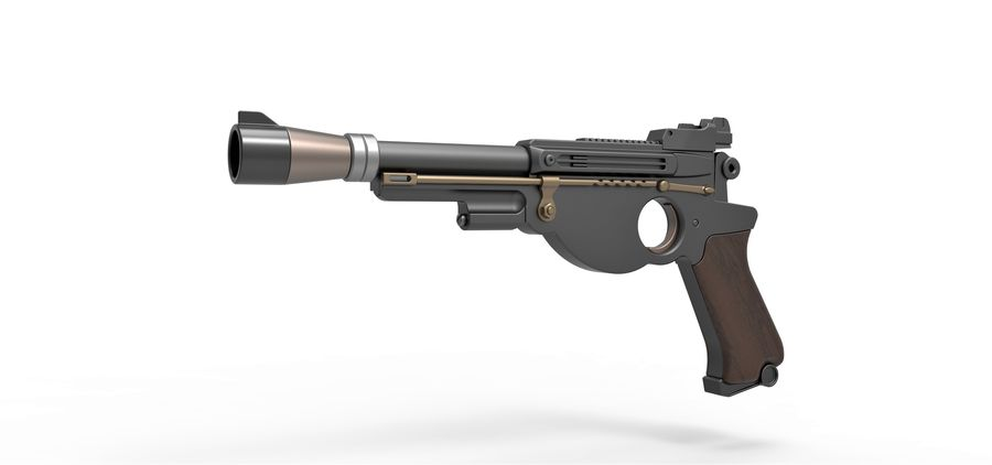 Blaster pistol from The Mandalorian royalty-free 3d model - Preview no. 2