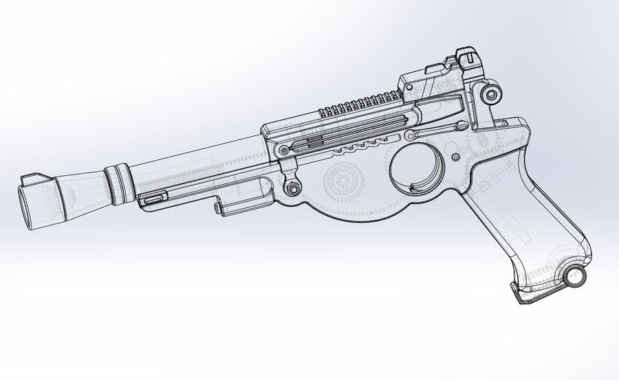 Blaster pistol from The Mandalorian royalty-free 3d model - Preview no. 22