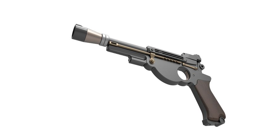 Blaster pistol from The Mandalorian royalty-free 3d model - Preview no. 3