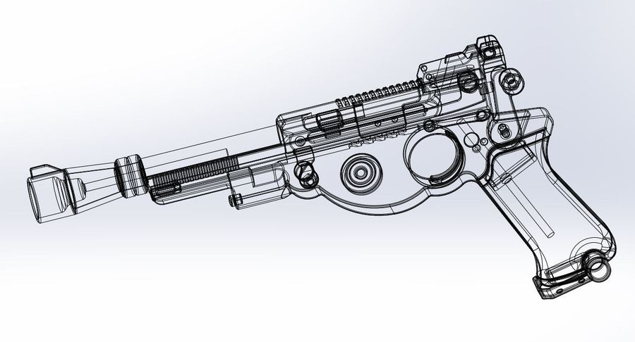 Blaster pistol from The Mandalorian royalty-free 3d model - Preview no. 21