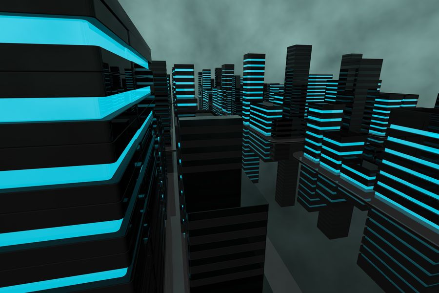 Futuristic city royalty-free 3d model - Preview no. 6