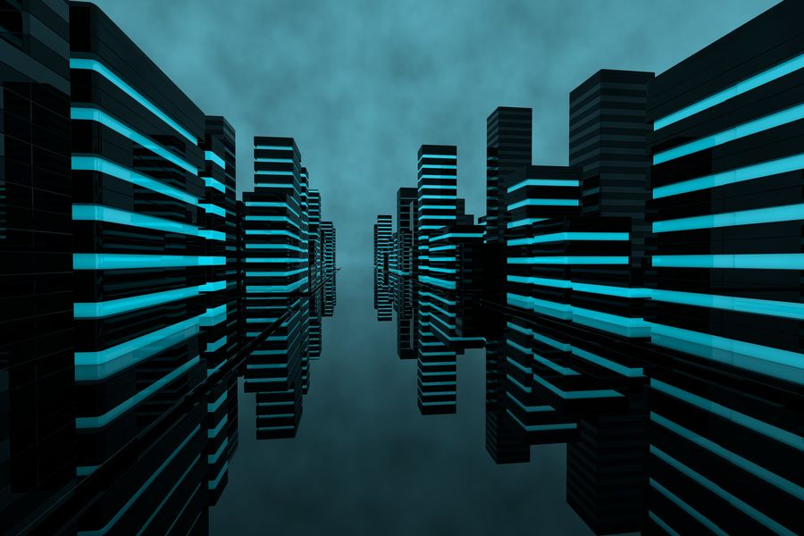 Futuristic city royalty-free 3d model - Preview no. 3