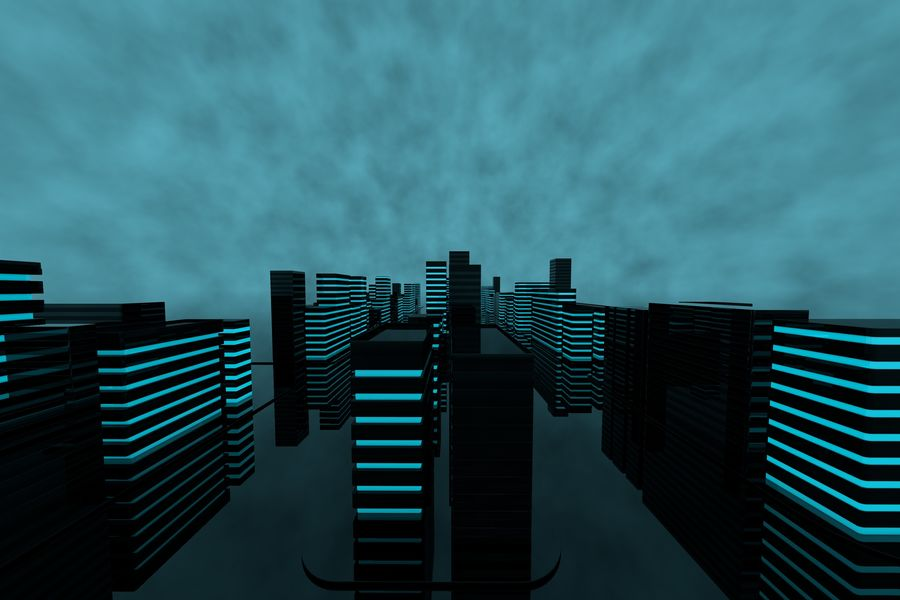 Futuristic city royalty-free 3d model - Preview no. 4