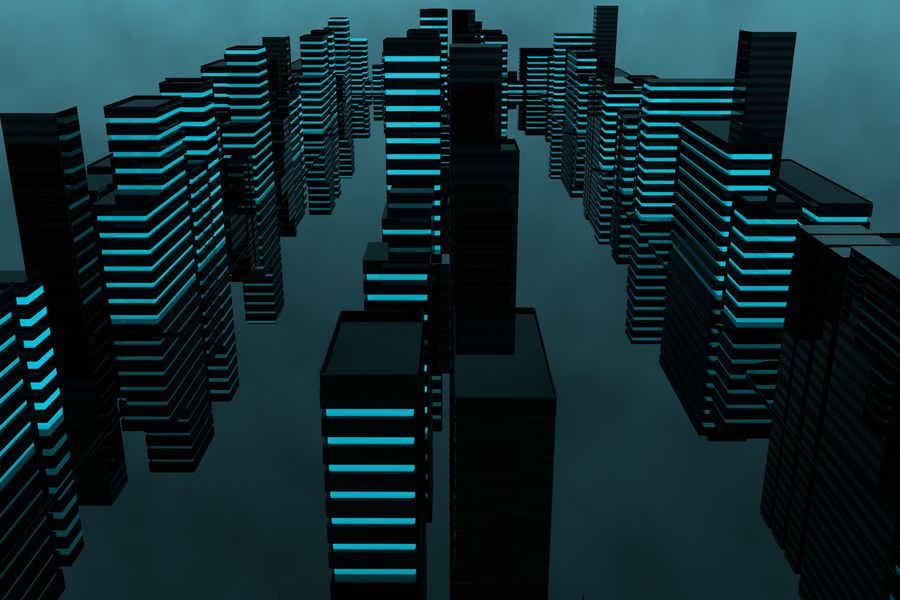 Futuristic city royalty-free 3d model - Preview no. 8