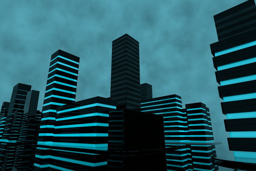 Futuristic city royalty-free 3d model - Preview no. 2