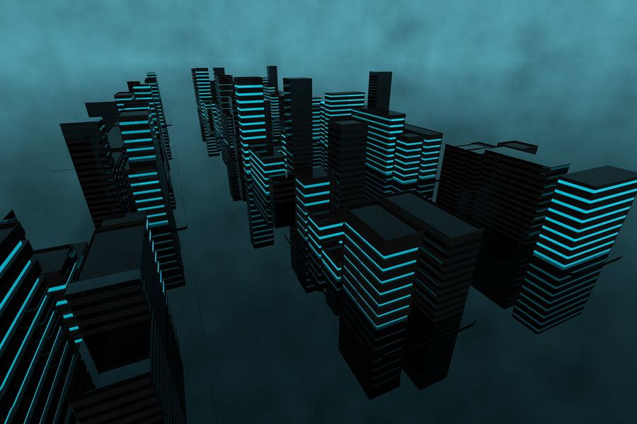 Futuristic city royalty-free 3d model - Preview no. 1