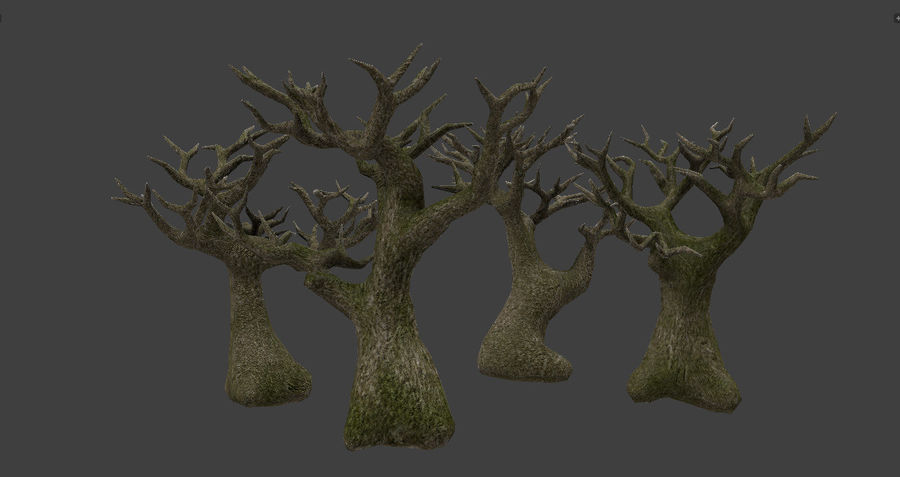Albero basso poli pbr senza foglie royalty-free 3d model - Preview no. 3