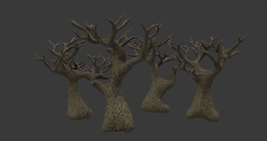 Albero basso poli pbr senza foglie royalty-free 3d model - Preview no. 2
