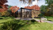 modern mobile home tiny house vacation house on 47m2 3d model