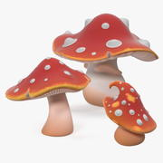 Conjunto de cogumelos Amanita Cartoon 3d model