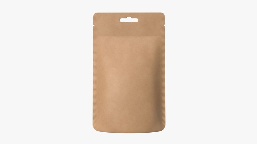 Craft paper pouch bag 01 royalty-free 3d model - Preview no. 4