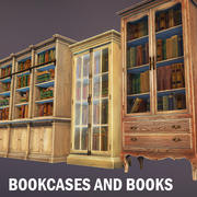 Bookcases and books 3d model