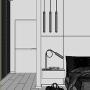 Dormitorio moderno Escena interior y modelo Render 3D Corona modelo 3d