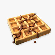 Waffle with chocolate 3d model